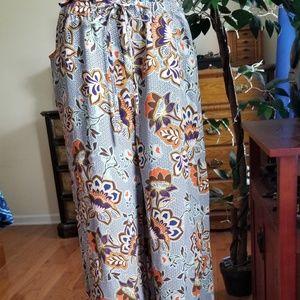 Womens LOFT wide leg drawstring pants Medium Tall